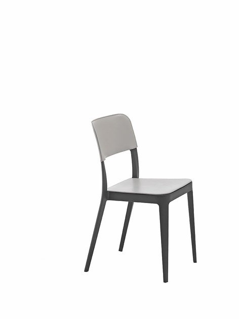 Contemporary style stackable plastic restaurant chair with removable cover NENÈ S-CU | Tanned leather chair by Midj