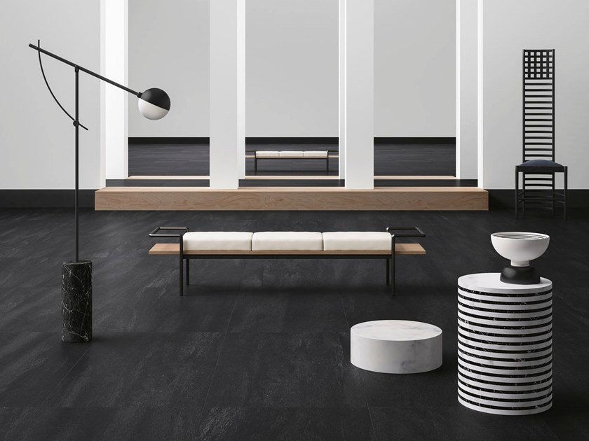 Porcelain stoneware wall/floor tiles with stone effect NEO BLACK by GranitiFiandre