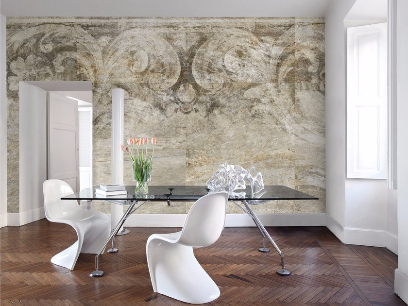 Carta da parati di design neo classic inkiostro bianco for Carta da parati per soggiorno moderno