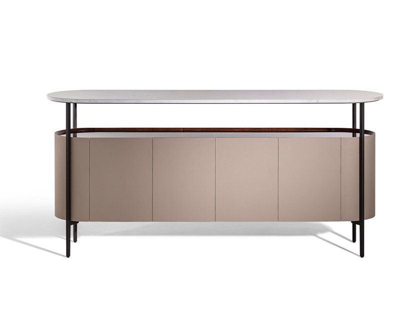 Sideboard covered in leather and marble top MI   Sideboard by Poltrona Frau