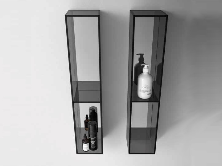 Open suspended glass bathroom wall cabinet NEROLAB | Open bathroom wall cabinet by Cerasa