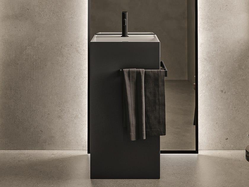 Freestanding rectangular washbasin with towel rail TOTEM by Cerasa