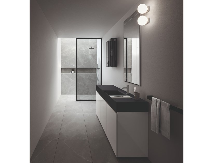Wall-mounted laminate vanity unit with mirror NEROLAB   Wall-mounted vanity unit by Cerasa