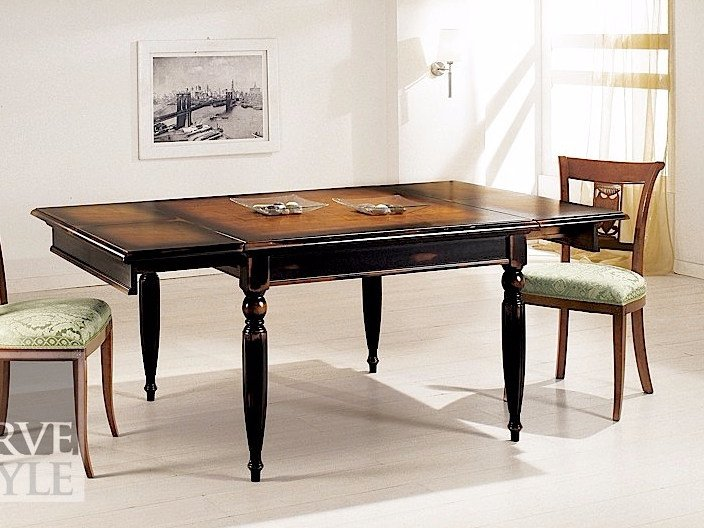 Extending solid wood table NERONE by Arvestyle