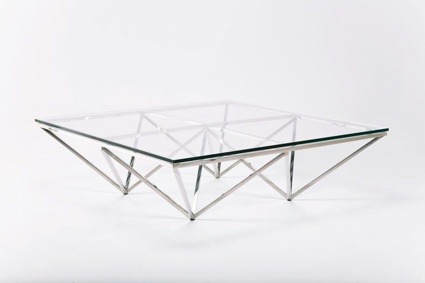 Table basse rectangulaire en acier inoxydable et verre network by kare design - Table basse en verre et acier ...