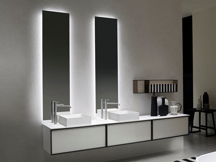Bathroom mirror with integrated lighting NEUTROLED by Antonio Lupi Design