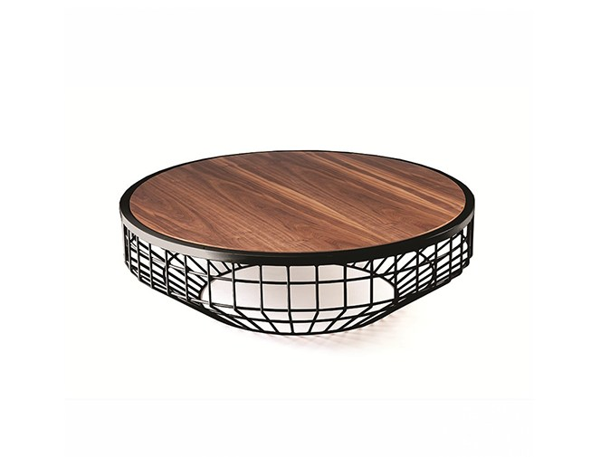 Low round metal coffee table NEW AIR | Wooden coffee table by Mambo Unlimited Ideas