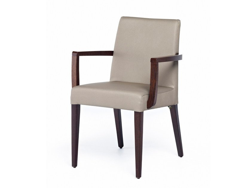 Upholstered leather chair with armrests NEW GALA + A by Z-Editions