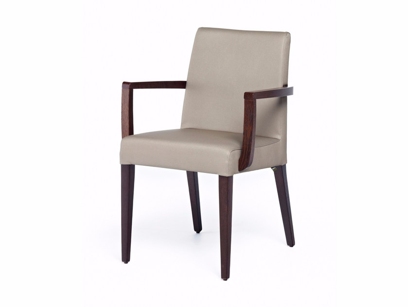 Upholstered stackable leather chair with armrests NEW GALA + A ST by Z-Editions