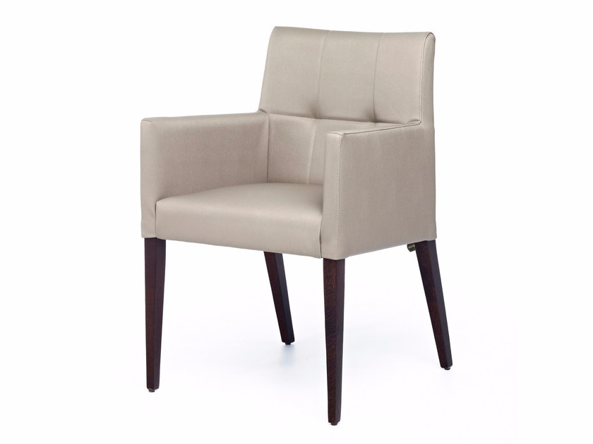 Upholstered leather easy chair with armrests NEW GALA TUB by Z-Editions