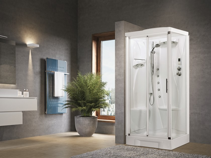 Corner Hydromassage shower cabin with sliding door NEW HOLIDAY 2P 100X70 by NOVELLINI