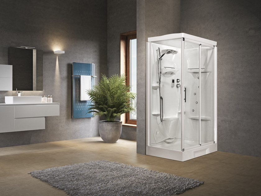 Corner Hydromassage shower cabin with sliding door NEW HOLIDAY 2P 120X80 by NOVELLINI
