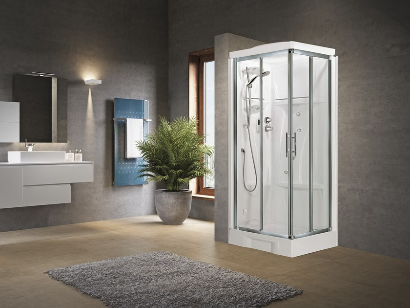 Corner Hydromassage shower cabin with sliding door NEW HOLIDAY A80 by NOVELLINI