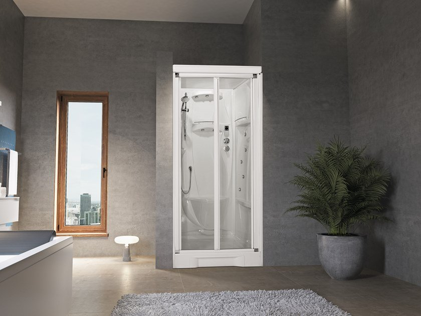 Niche Hydromassage shower cabin with folding door NEW HOLIDAY BI100 by NOVELLINI