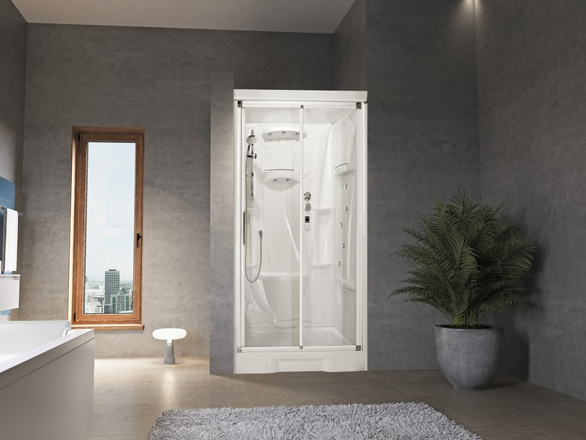 Niche Hydromassage shower cabin with sliding door NEW HOLIDAY BI120 by NOVELLINI