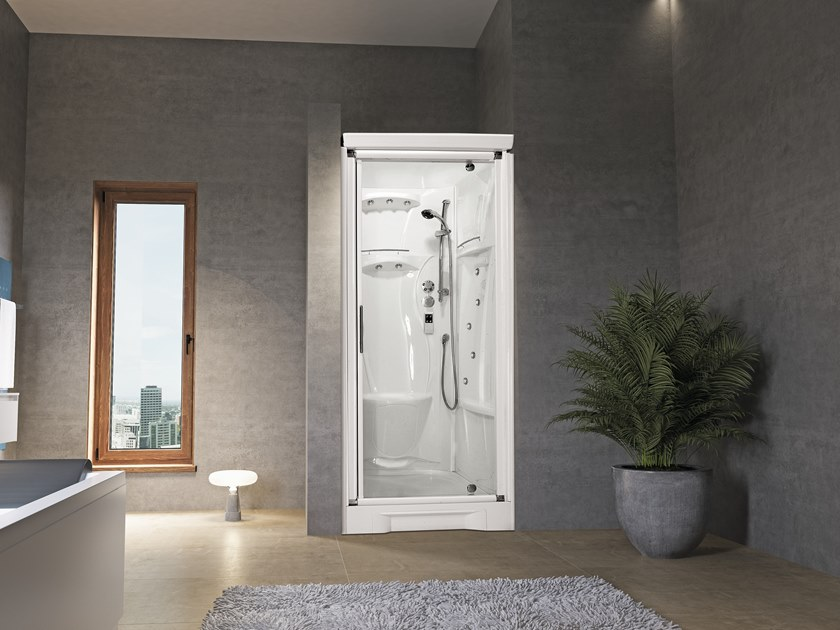 Niche Hydromassage shower cabin with hinged door NEW HOLIDAY BI90 by NOVELLINI