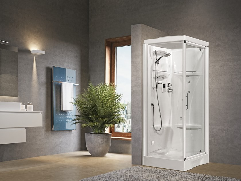 Corner Hydromassage shower cabin with hinged door NEW HOLIDAY GF80 by NOVELLINI