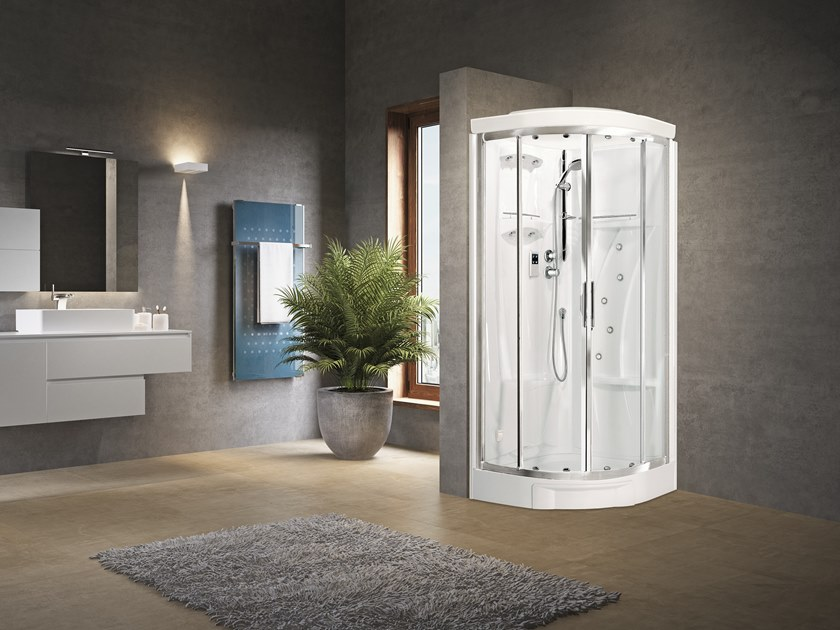 Semicircular Hydromassage shower cabin with sliding door NEW HOLIDAY R90 by NOVELLINI