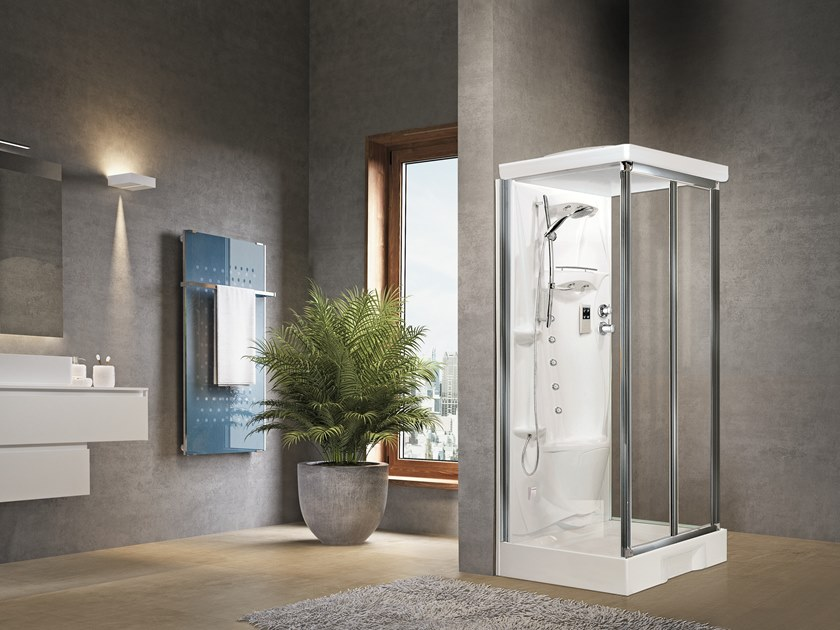 Corner Hydromassage shower cabin with folding door NEW HOLIDAY S2 F100 by NOVELLINI