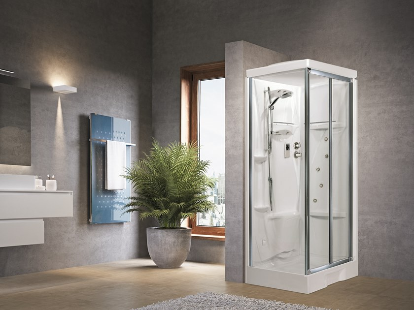Corner Hydromassage shower cabin with folding door NEW HOLIDAY SF100X80 by NOVELLINI