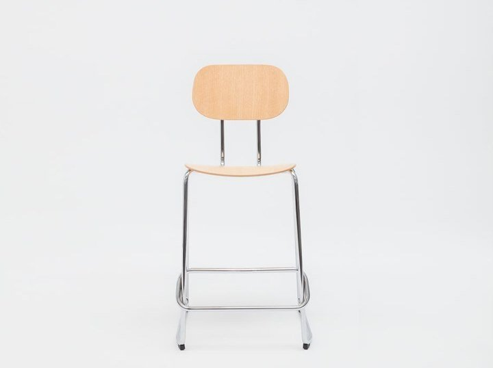 High sled base plywood stool with footrest NEW SCHOOL | Plywood stool by MDD