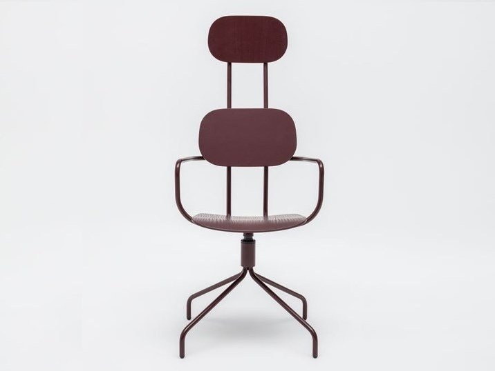 Trestle-based plywood office chair with armrests NEW SCHOOL | Trestle-based office chair by MDD