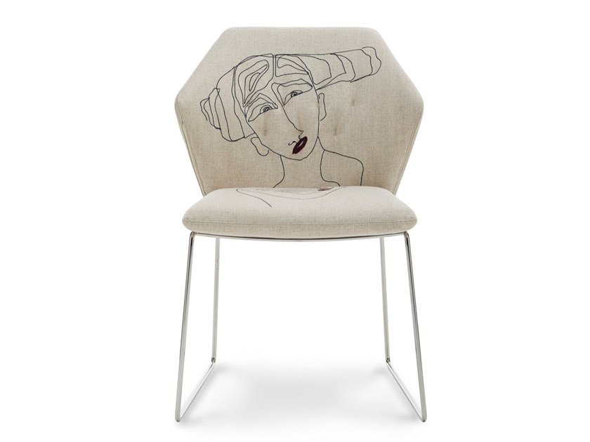 Sled base upholstered fabric chair NEW YORK BY MARRAS | Chair by Saba Italia