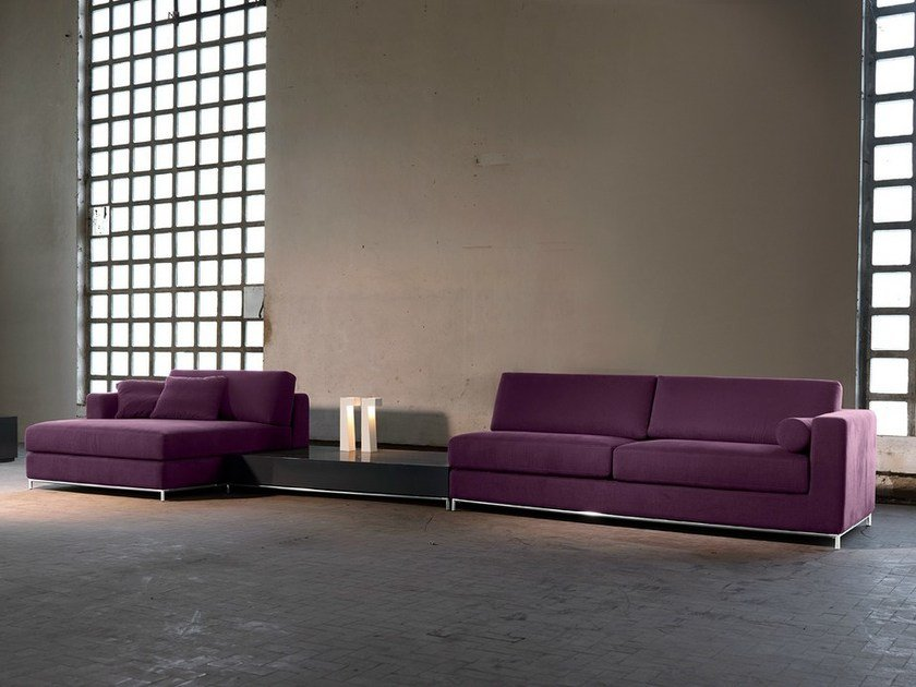 Fabric sofa with removable cover with chaise longue NEWMAN | Sofa with chaise longue by Domingo Salotti