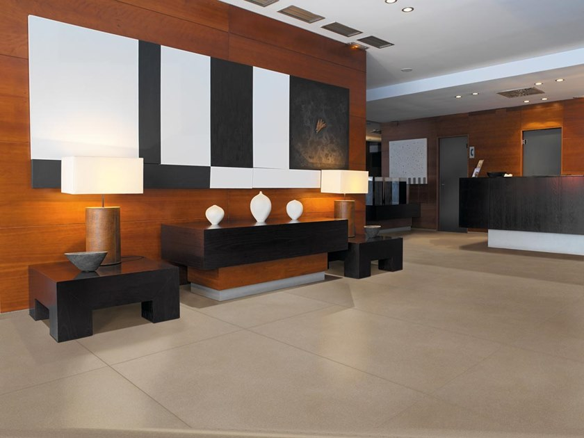 Technical porcelain wall/floor tiles with concrete effect NEWSTONE by APAVISA