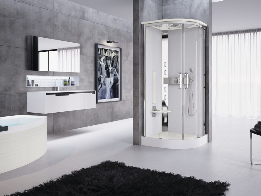 Multifunction semicircular shower cabin with sliding door NEXIS R90 by NOVELLINI