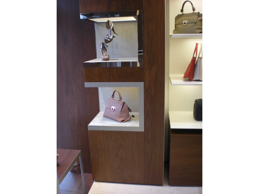 Wall-mounted one-sided retail display unit DISPLAY NICHES FOR SHOP INTERIOR by YDF