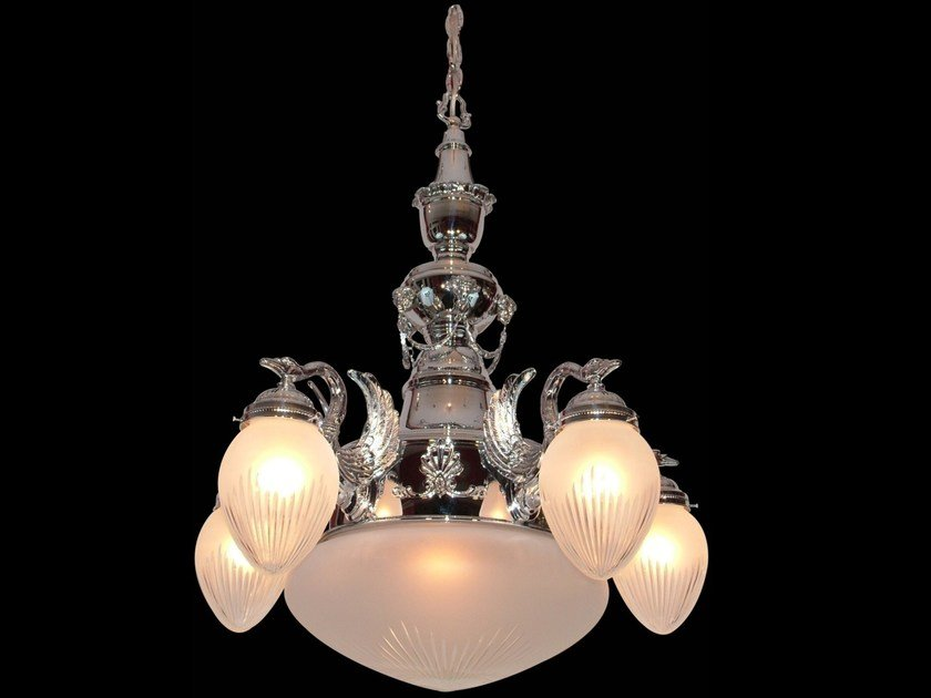Direct light handmade nickel chandelier MISKOLC I | Nickel chandelier by Patinas Lighting