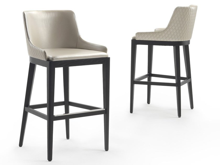 Leather barstool with back NICOLE | Leather stool by Marelli