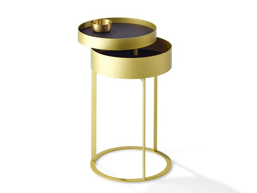 Round metal bedside table with drawers NIGHT | Bedside table with drawers by Draenert