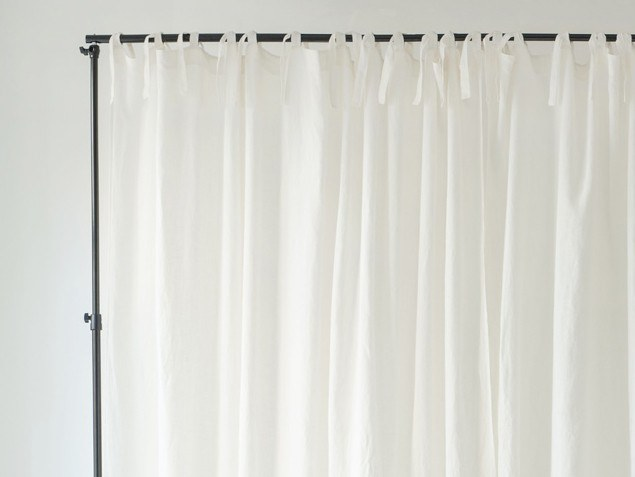 Solid-color linen curtain NIGHTIME TIE TOP WIDE by Linen Tales