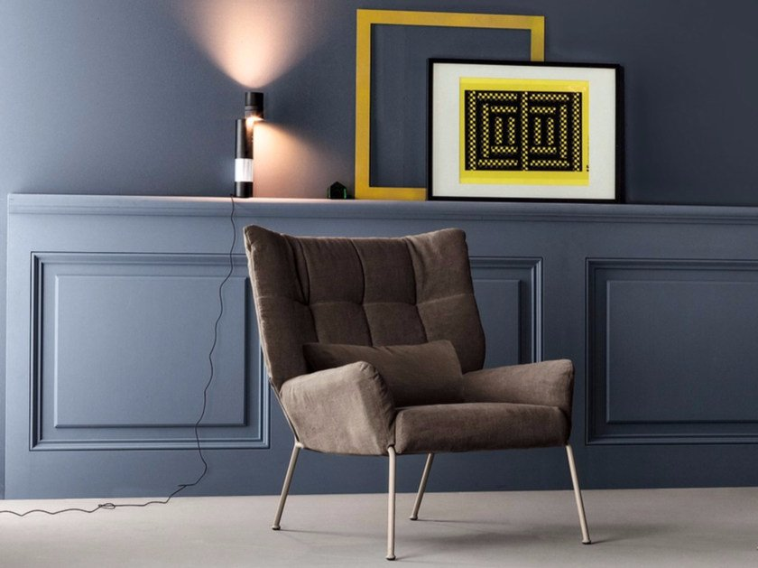 Tufted upholstered fabric armchair with removable cover NIKOS by Bonaldo