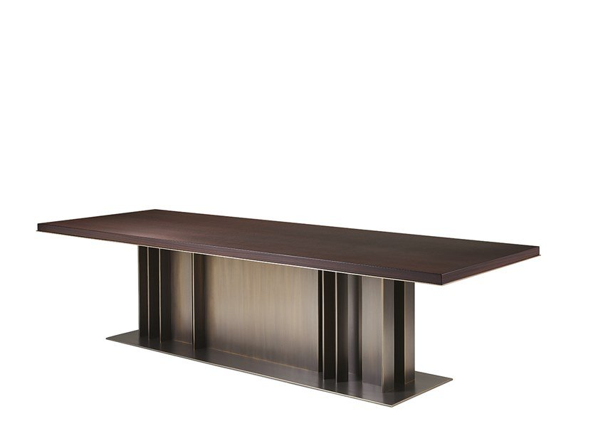 Rectangular wood-bronze table NILA   Table by Promemoria