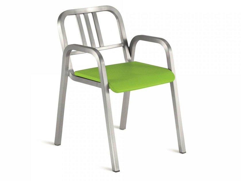 Stackable aluminium chair with armrests NINE-O™ | Chair with armrests by Emeco