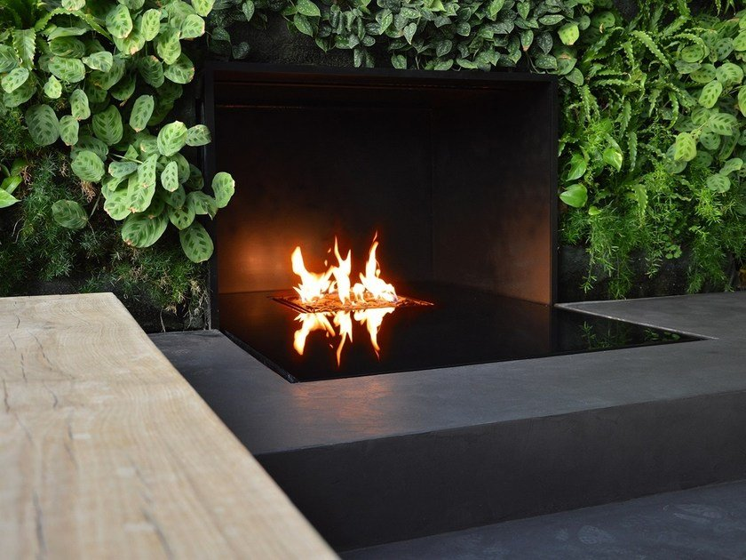 Gas built-in wall-mounted fireplace NINFEA | Wall-mounted fireplace by ITALKERO