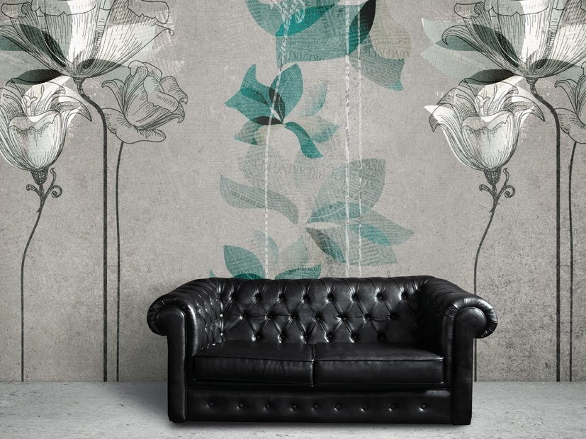 Rubber fire retardant wallpaper with floral pattern NINFEA by Tecnografica Italian Wallcoverings