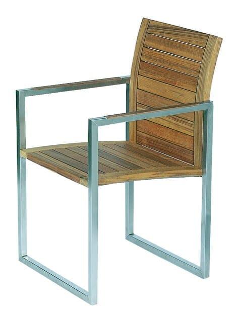 Sled base teak garden chair with armrests NINIX   Teak chair by ROYAL BOTANIA