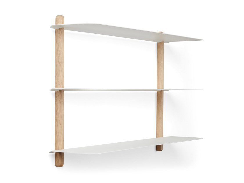 Wall-mounted steel and wood bookcase NIVO A | Oak bookcase by Gejst