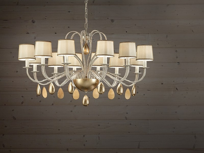 Metal chandelier with crystals NOBLESSE 12 by Masiero