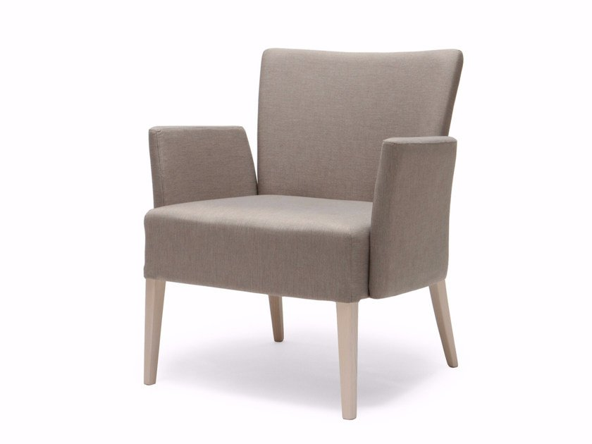 Upholstered fabric armchair with armrests NOBLESSE 213 by Origins 1971