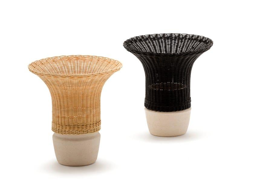 Woven wicker vase NODO by Bottega Intreccio