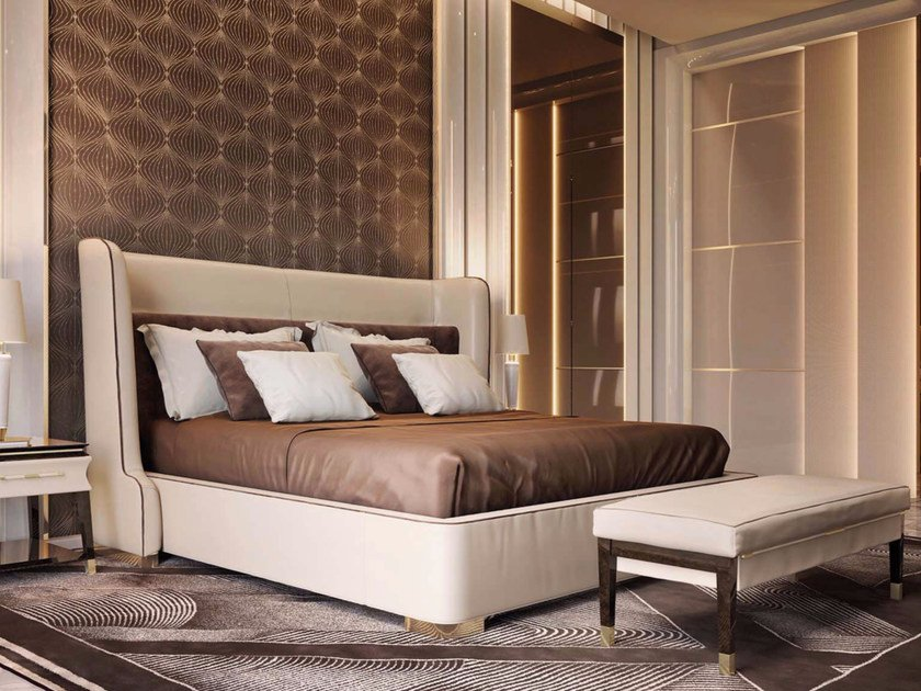 Leather double bed NOIR | Leather bed by Turri