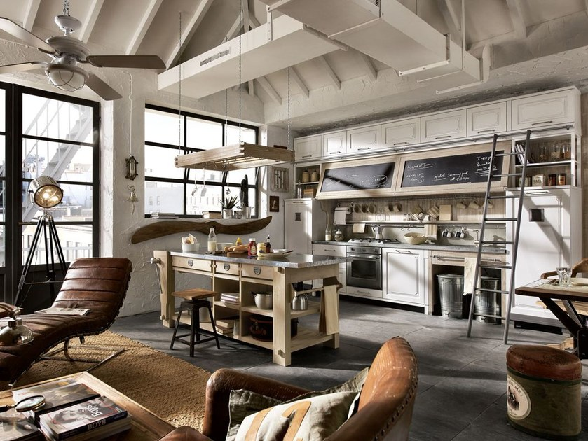Fitted wood kitchen NOLITA - COMPOSITION 02 by Marchi Cucine