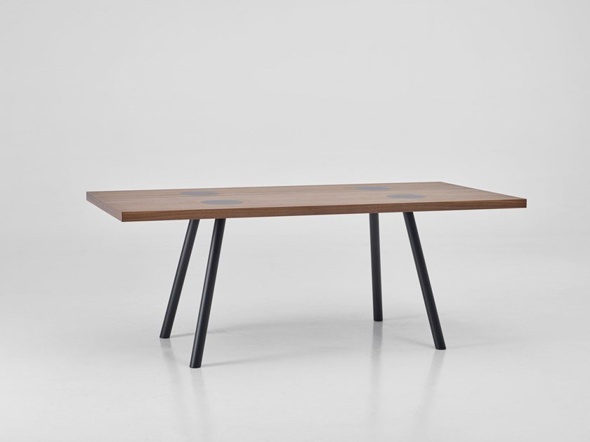 Rectangular wood veneer dining table NOMAD by PER-USE