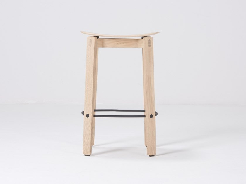 Oak barstool with footrest NORA | Oak stool by Gazzda