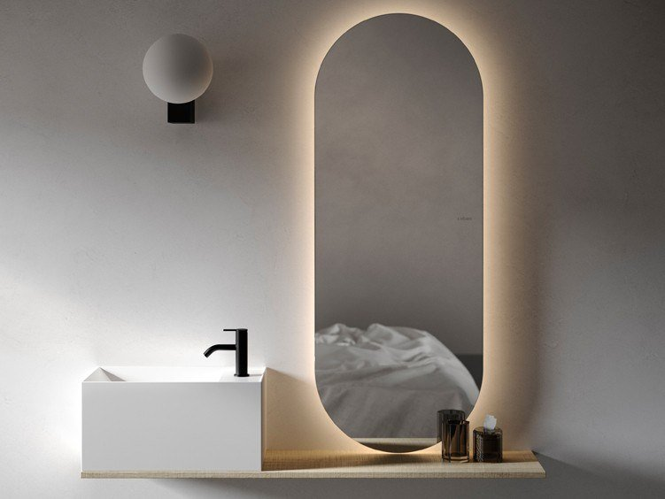 Oval wooden mirror with integrated lighting with shelf NORM | Oval mirror by INBANI